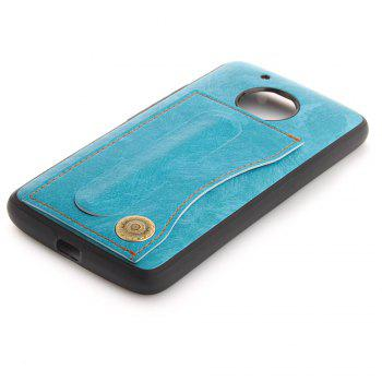 Case Cover for MOTO G5 Luxury PU Leather with Stand and Card Slots - WINDSOR BLUE