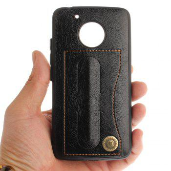 Case Cover for MOTO G5 Luxury PU Leather with Stand and Card Slots - BLACK