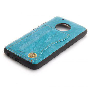 Case Cover for MOTO G5 Plus Luxury PU Leather with Stand and Card Slots - WINDSOR BLUE