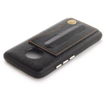 Case Cover for MOTO G5 Plus Luxury PU Leather with Stand and Card Slots - BLACK