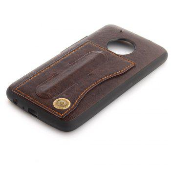 Case Cover for MOTO G5 Plus Luxury PU Leather with Stand and Card Slots - BROWN