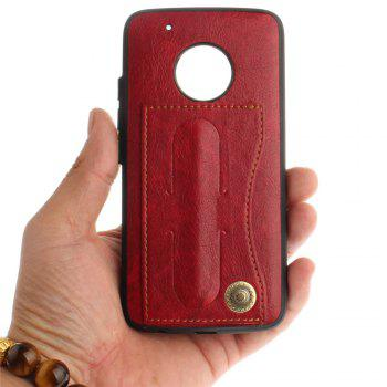 Case Cover for MOTO G5 Plus Luxury PU Leather with Stand and Card Slots - RED