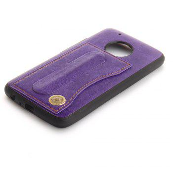 Case Cover for MOTO G5 Plus Luxury PU Leather with Stand and Card Slots - PURPLE