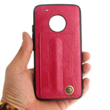 Case Cover for MOTO G5 Plus Luxury PU Leather with Stand and Card Slots - ROSE RED