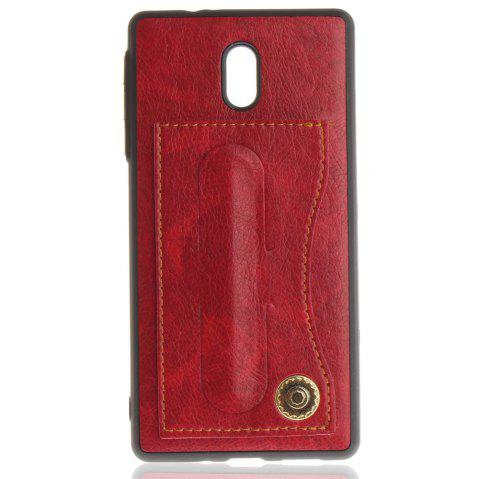Case Cover for Nokia 3 Luxury PU Leather with Stand and Card Slots - RED