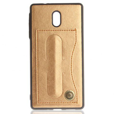 Case Cover for Nokia 6 Luxury PU Leather with Stand and Card Slots - GOLDEN