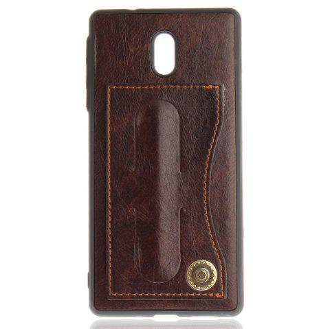 Case Cover for Nokia 6 Luxury PU Leather with Stand and Card Slots - BROWN