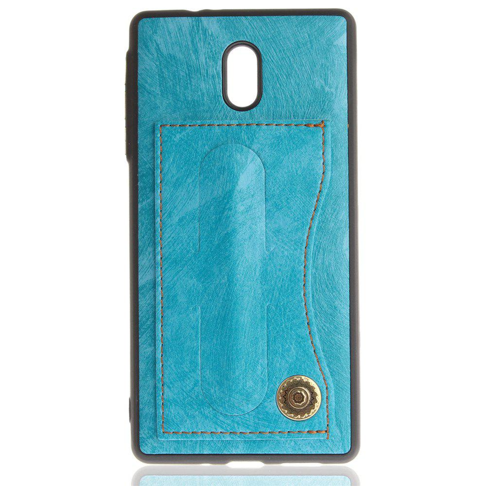 Case Cover for Nokia 6 Luxury PU Leather with Stand and Card Slots - WINDSOR BLUE