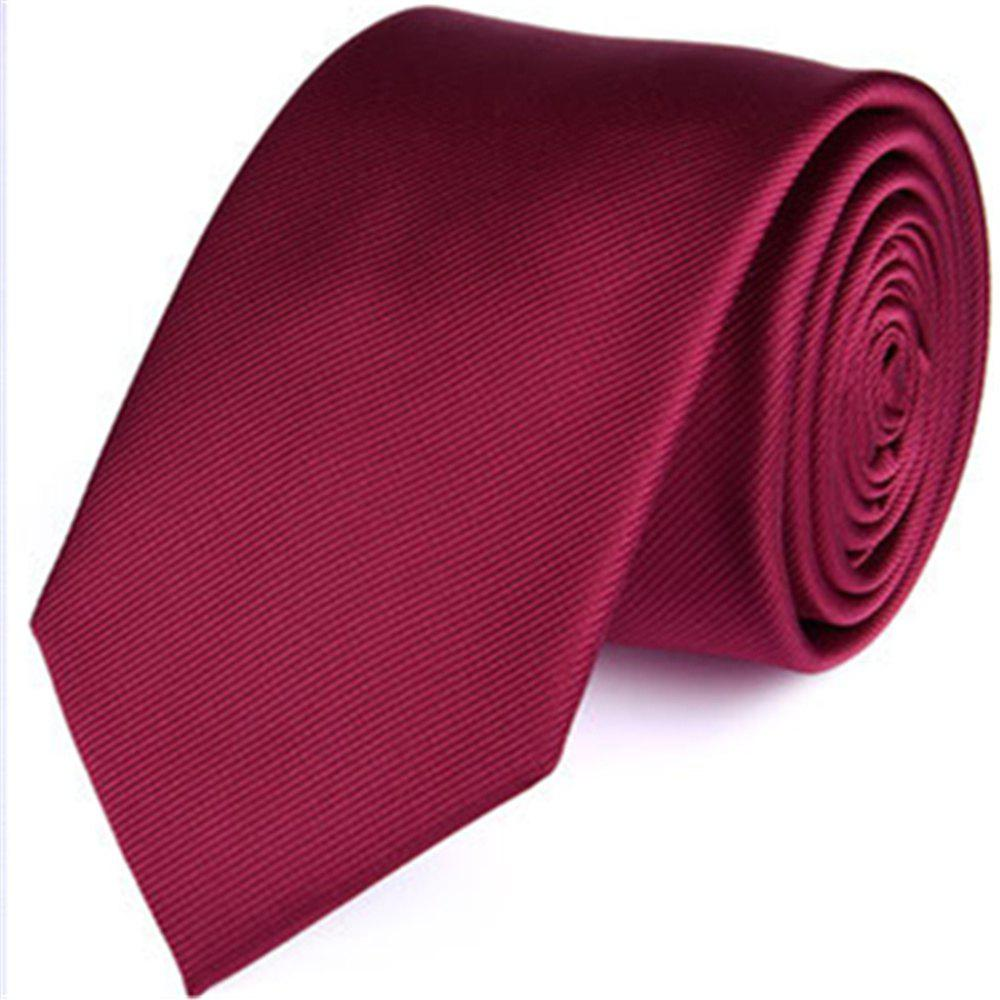 New fashion business tie men's pure color twill - PURPLISH RED C LONG145CM*WIDE7CM