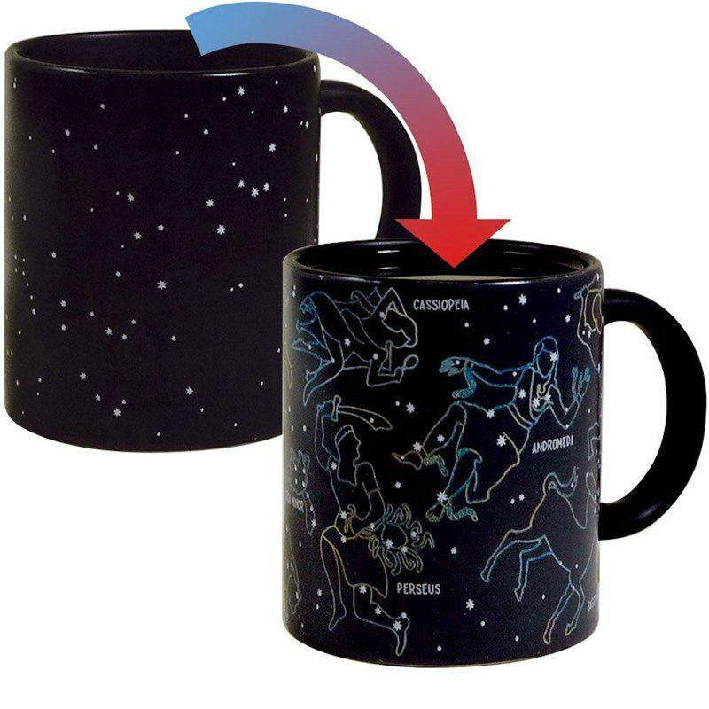 Fashion Heat Changing Constellation Mug Color Changing Cup 12 Ounce - BLACK