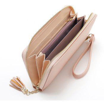 2018 Long Luxury Brand Designer Women Wallet Clutch High Quality Leather Tassel Women Purse with Zipper Card Holder - PINK
