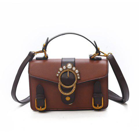 Belt Buckle Fashion Wild Shoulder Messenger Bag - BROWN