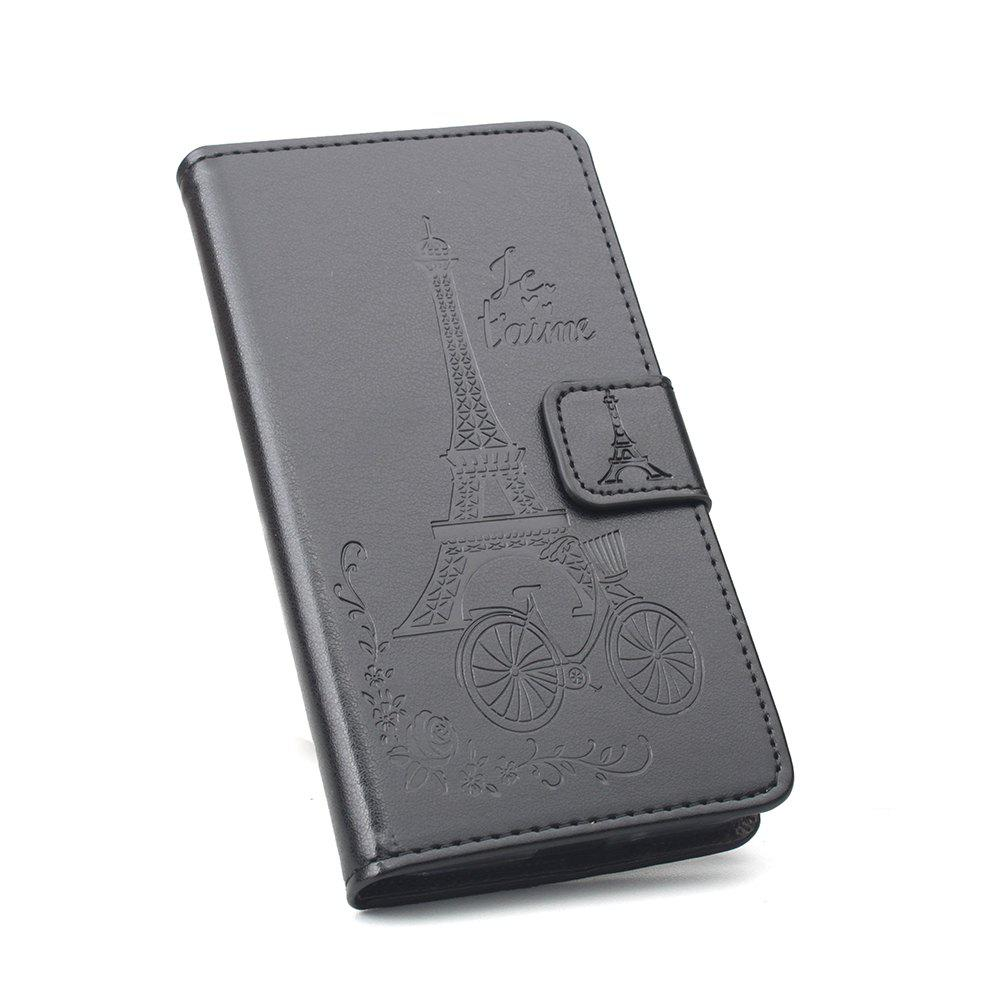 Wallet PU Leather Case for Sory Xperia E5 Phone Wallet Leather MobiLe Phone Holster Case - BLACK
