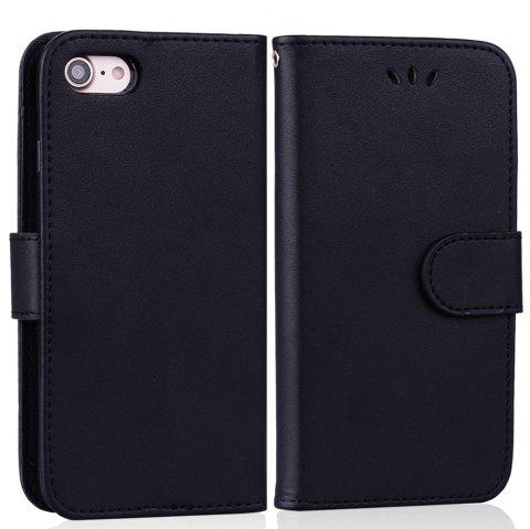Cover Case For iPhone 8 Solid Color Pattern PU Leather Wallet Case - BLACK