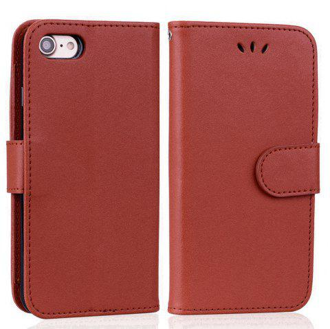 Cover Case For iPhone 8 Solid Color Pattern PU Leather Wallet Case - BROWN