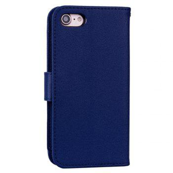 Cover Case For iPhone 8 Solid Color Pattern PU Leather Wallet Case - CERULEAN