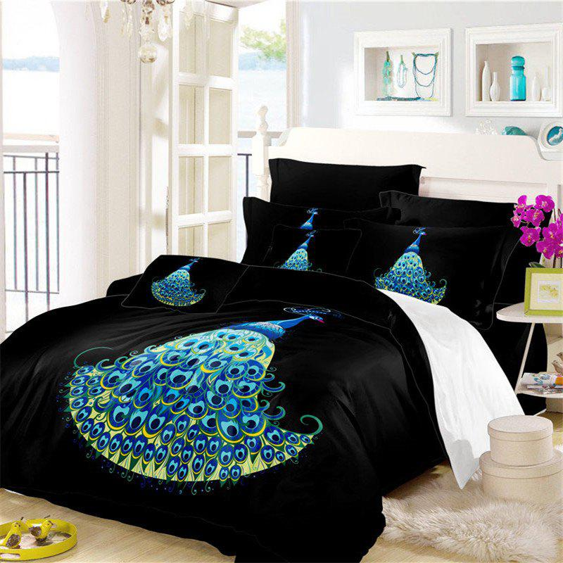Embroidery Peacock Feathers Series Four Pieces of Bedding SK11 - BLACK KING