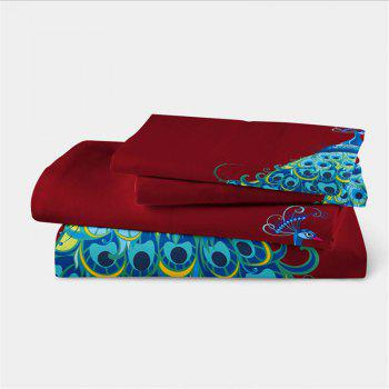 Embroidery Peacock Feathers Series Four Pieces of Bedding SK11 - COPPER TWIN