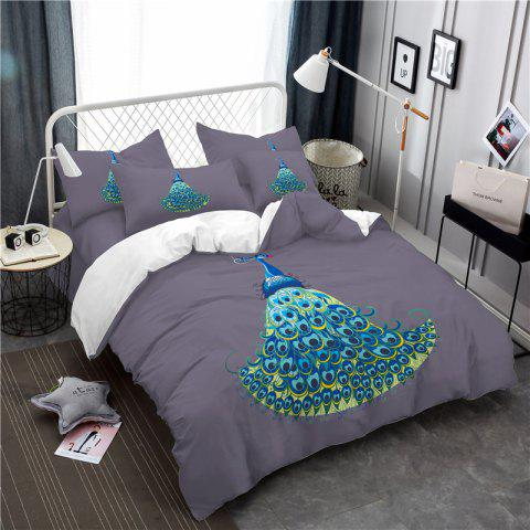 Embroidery Peacock Feathers Series Four Pieces of Bedding SK11 - GRAY KING