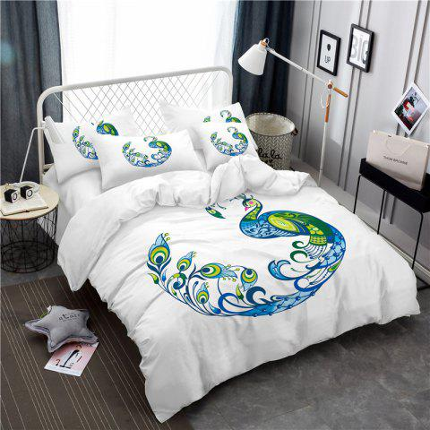 Embroidery Peacock Feathers Series Four Pieces of Bedding SK12 - WHITE KING