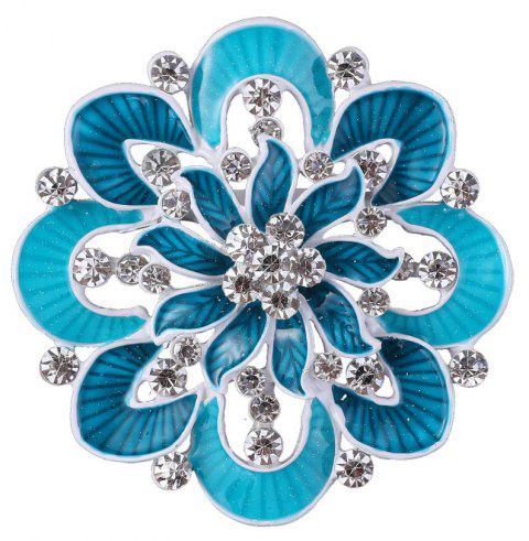 Women's Girls Sparkly Rhinestone Flower Shape Elegant Brooch - BLUE