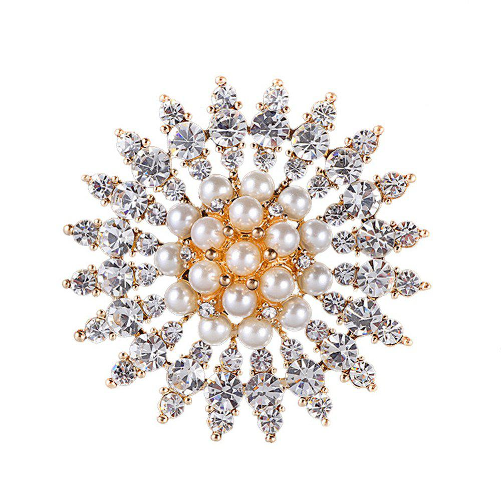 Women's Girls Fine Jewelry Gifts Rhinestone Flower Brooch - WHITE