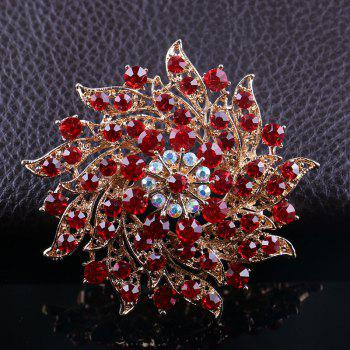 Women's Girls Trendy Jewelry Rhinestone Flower Brooch Best Gifts - RED