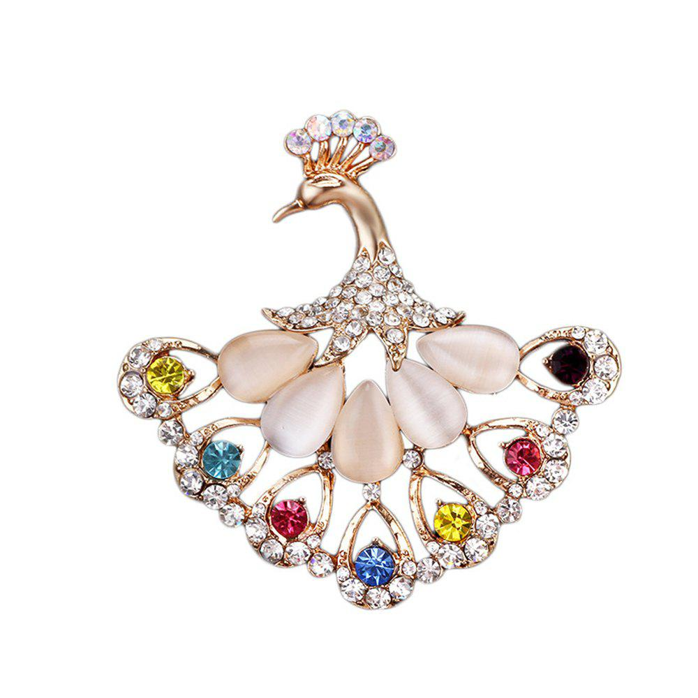 Women's Colorful Peacock Rhinestone Brooch Girls Fine Jewelry Gifts - COLOR