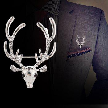 Women's Men Rhinestone Brooch Elk Ornament Fine Jewelry Gifts - SILVER
