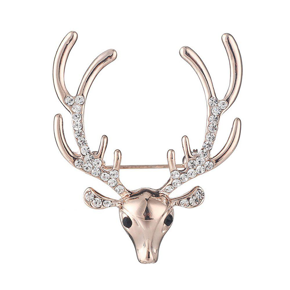 Women's Men Rhinestone Brooch Elk Ornament Fine Jewelry Gifts - GOLD