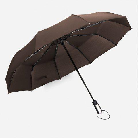 Fully-Automatic Three Folding Male Commercial Compact Large Strong Frame Windproof 10ribs Gentle Black Umbrellas - COFFEE