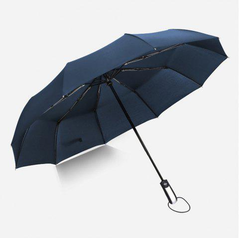 Fully-Automatic Three Folding Male Commercial Compact Large Strong Frame Windproof 10ribs Gentle Black Umbrellas - BLUE
