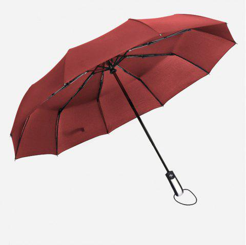 Fully-Automatic Three Folding Male Commercial Compact Large Strong Frame Windproof 10ribs Gentle Black Umbrellas - WINE RED
