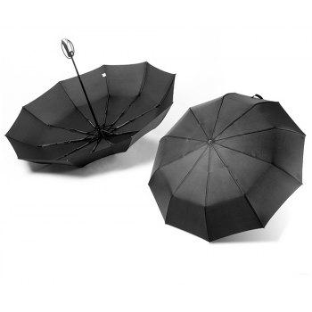 Fully-Automatic Three Folding Male Commercial Compact Large Strong Frame Windproof 10ribs Gentle Black Umbrellas - BLACK