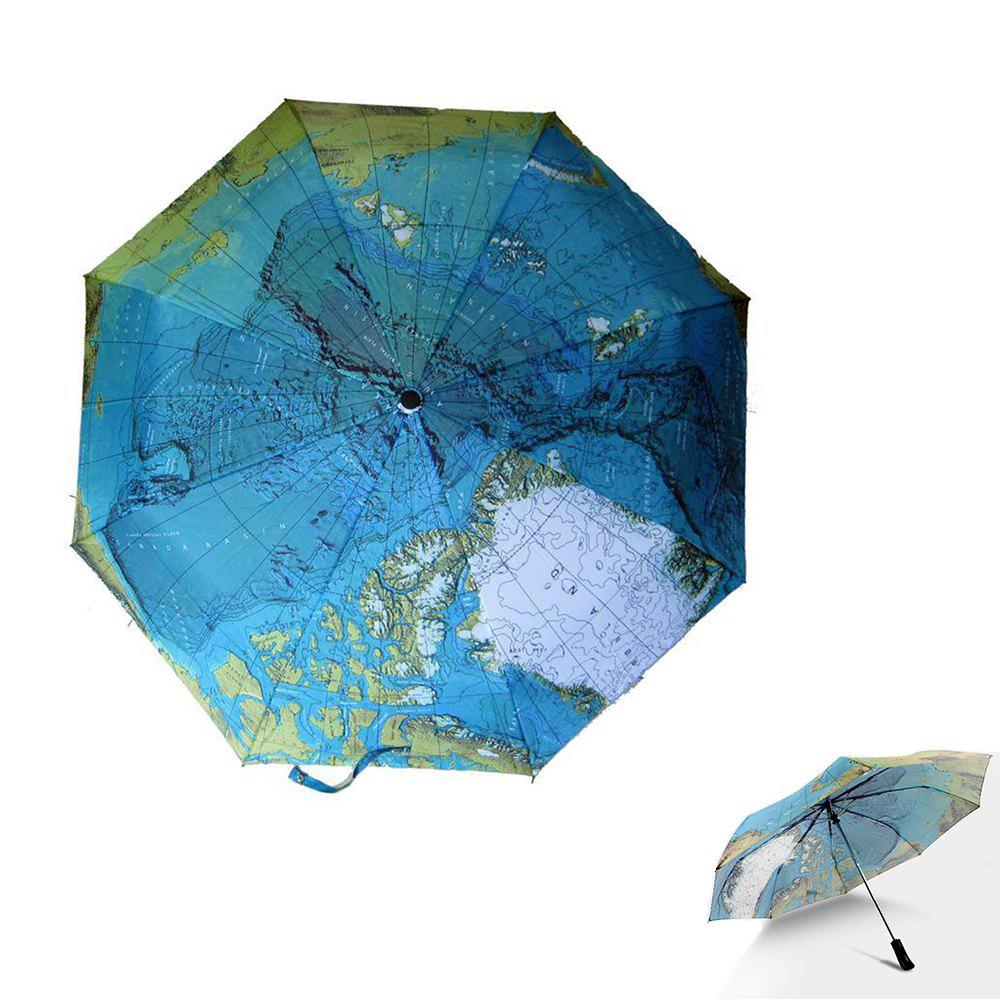 Fully Automatic Rain Umbrella World Map Folding Rain Umbrella Waterproof Wind Resistant Automatic World Map Umbrella - BLUE
