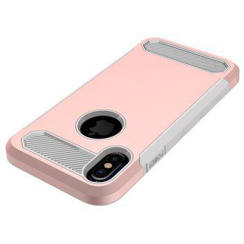 for iPhone X Shockproof  Hard PC Flexible TPU Laminated Carbon Fiber Chrome Anti-scratch Protective Case - ROSE GOLD