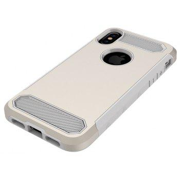 for iPhone X Shockproof  Hard PC Flexible TPU Laminated Carbon Fiber Chrome Anti-scratch Protective Case - GOLDEN
