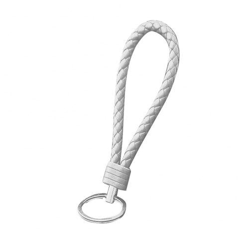 Handmade Braided Leather Keychain - WHITE