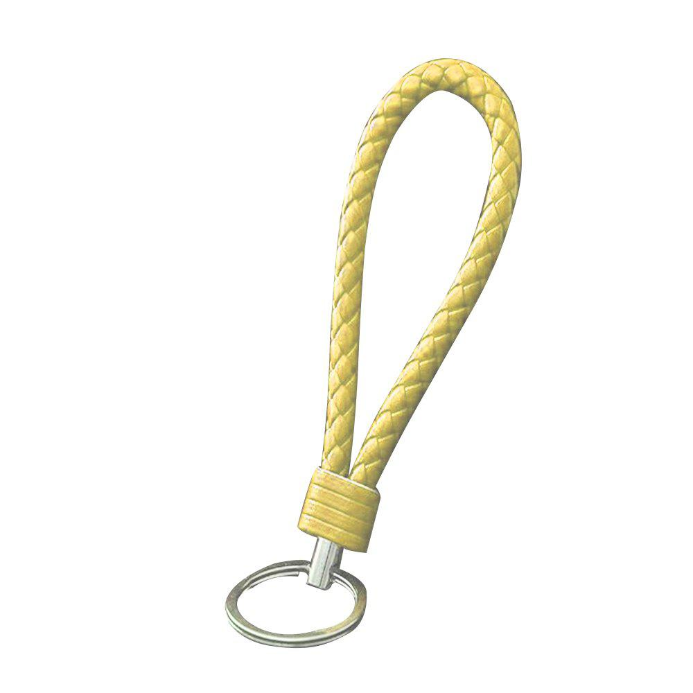 Handmade Braided Leather Keychain - YELLOW