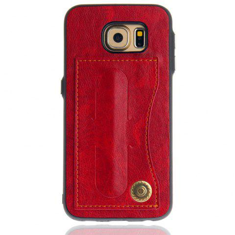 Leather Bracket Insert Card Cell Phone Shell For Samsung Galaxy S6 Cases Cover Extravagant Fashion Phone Case - RED