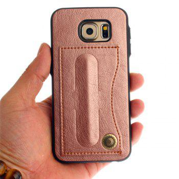 Leather Bracket Insert Card Cell Phone Shell For Samsung Galaxy S6 Cases Cover Extravagant Fashion Phone Case - ROSE GOLD