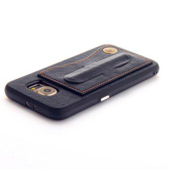 Leather Bracket Insert Card Cell Phone Shell For Samsung Galaxy S6 Cases Cover Extravagant Fashion Phone Case - BLACK