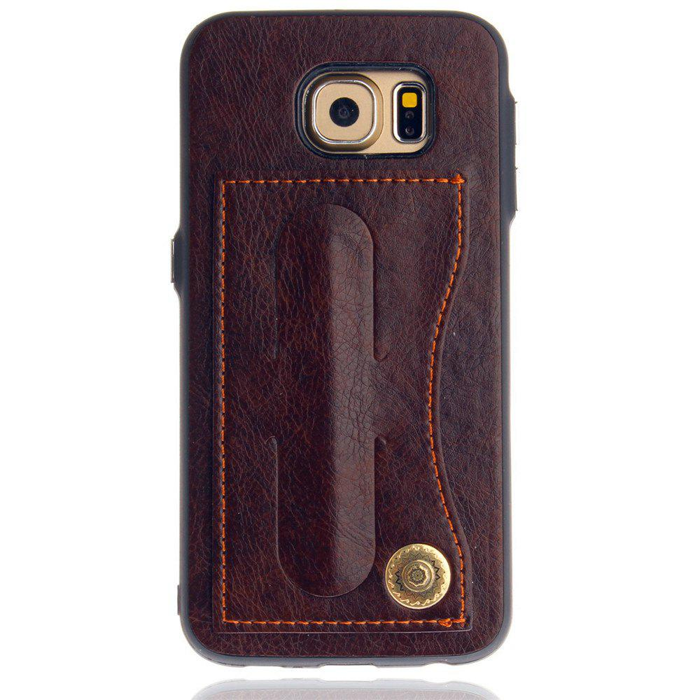 Leather Bracket Insert Card Cell Phone Shell For Samsung Galaxy S6 Cases Cover Extravagant Fashion Phone Case - MOCHA