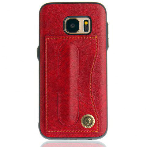 Leather Bracket Insert Card Cell Phone Shell For Samsung Galaxy S7 Cases Cover Extravagant Fashion Phone Case - RED