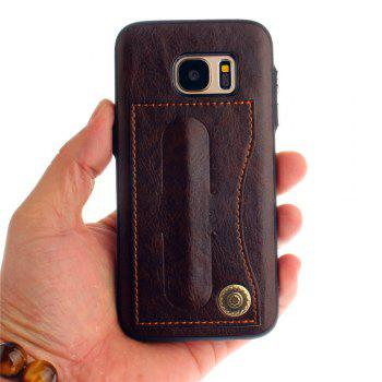 Leather Bracket Insert Card Cell Phone Shell For Samsung Galaxy S7 Cases Cover Extravagant Fashion Phone Case - MOCHA