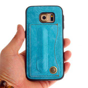 Leather Bracket Insert Card Cell Phone Shell For Samsung Galaxy S6 Edge Cases Cover Extravagant Fashion Phone Case - WINDSOR BLUE
