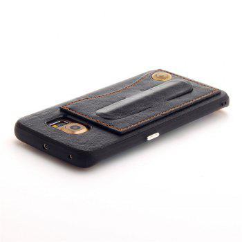 Leather Bracket Insert Card Cell Phone Shell For Samsung Galaxy S6 Edge Cases Cover Extravagant Fashion Phone Case - BLACK