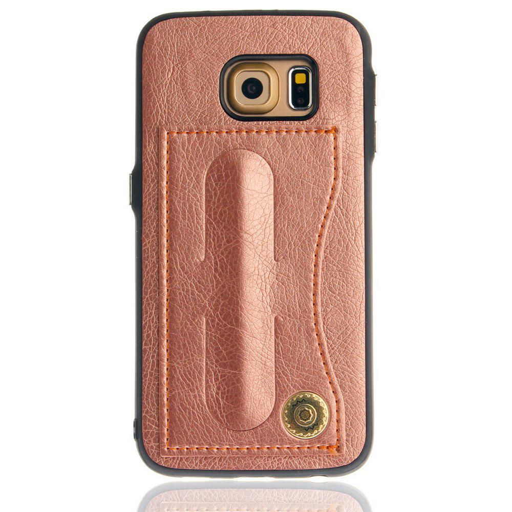 Leather Bracket Insert Card Cell Phone Shell For Samsung Galaxy S6 Edge Cases Cover Extravagant Fashion Phone Case - ROSE GOLD