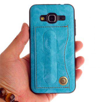 Leather Bracket Insert Card Cell Phone Shell For Samsung Galaxy J3 2016 J310 Case Extravagant Fashion Phone Case - WINDSOR BLUE