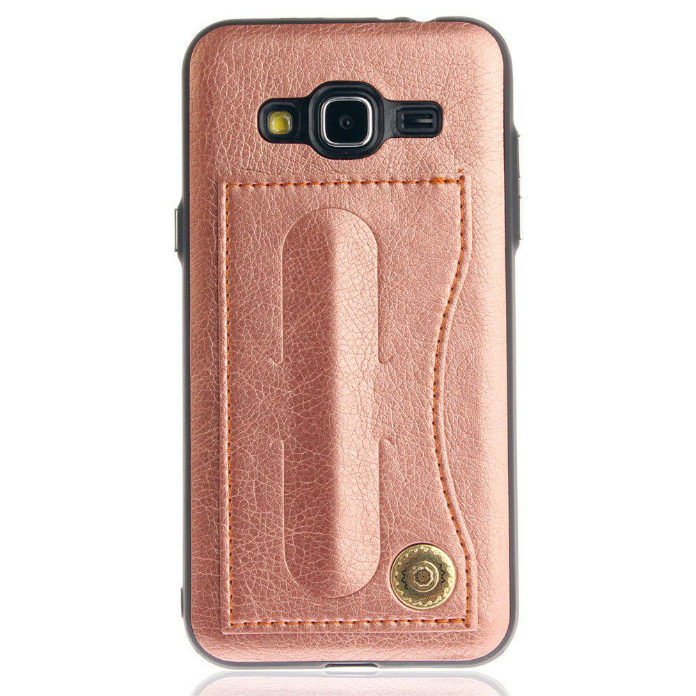 Leather Bracket Insert Card Cell Phone Shell For Samsung Galaxy J3 2016 J310 Case Extravagant Fashion Phone Case - ROSE GOLD